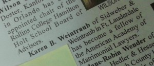 Weintraub AAML Announcement in Fla Bar News