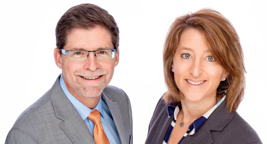 Karen and Bob, Attorney at Law pictured side by side smiling and happy